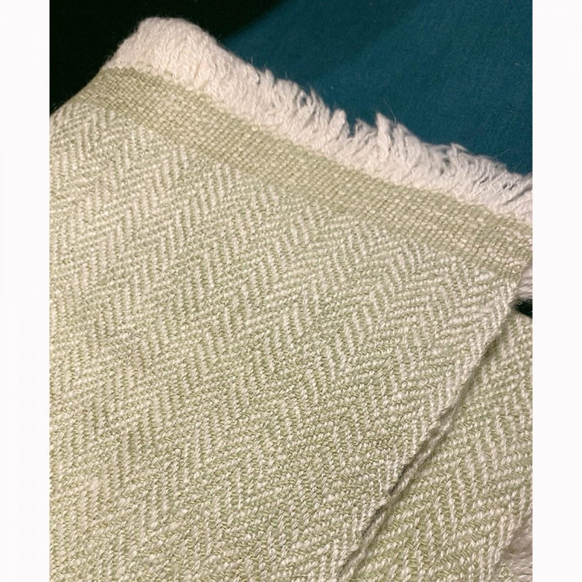 Light Green Herringbone Weave Baby Cashmere Blanket