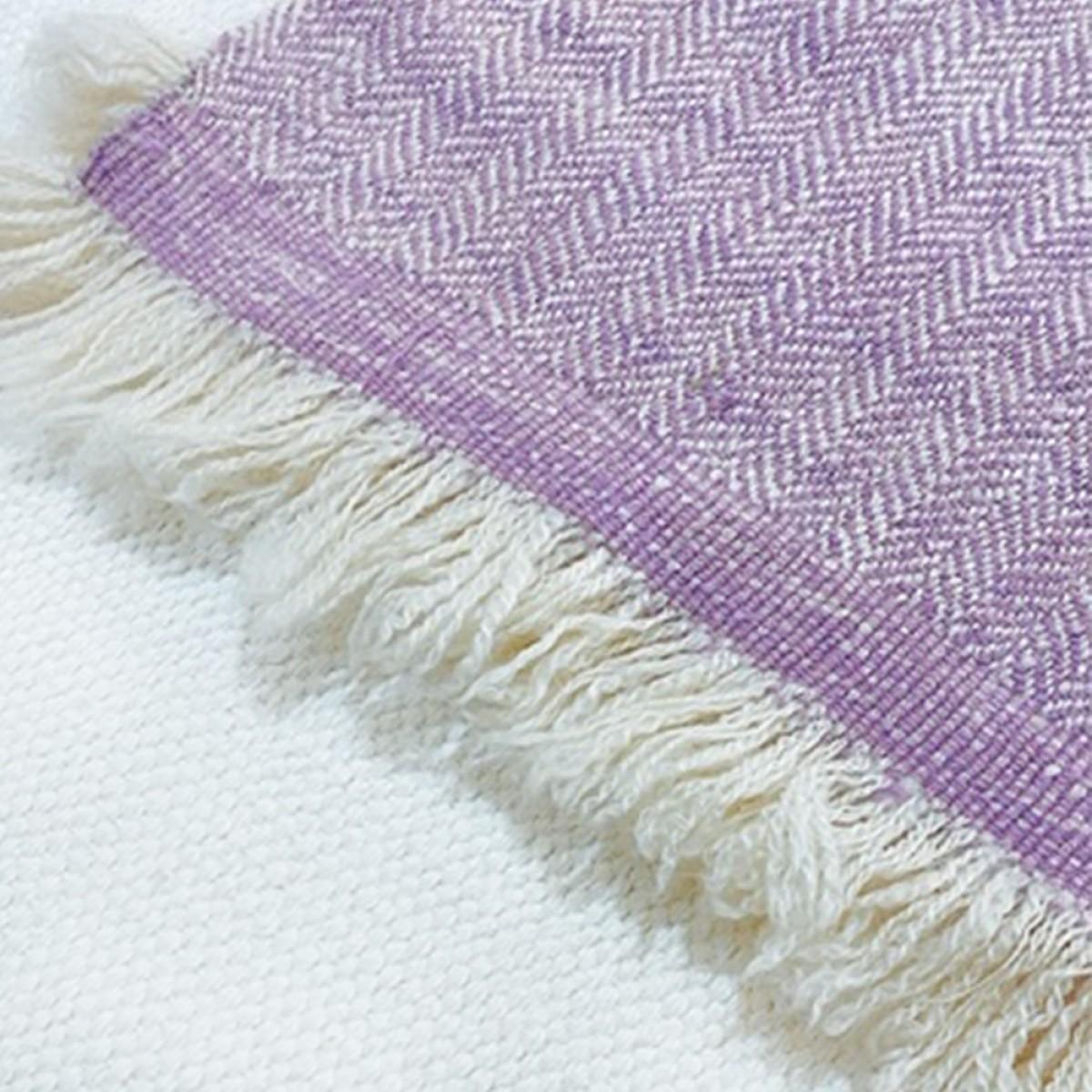 Lilac Herringbone Weave Baby Cashmere Blanket