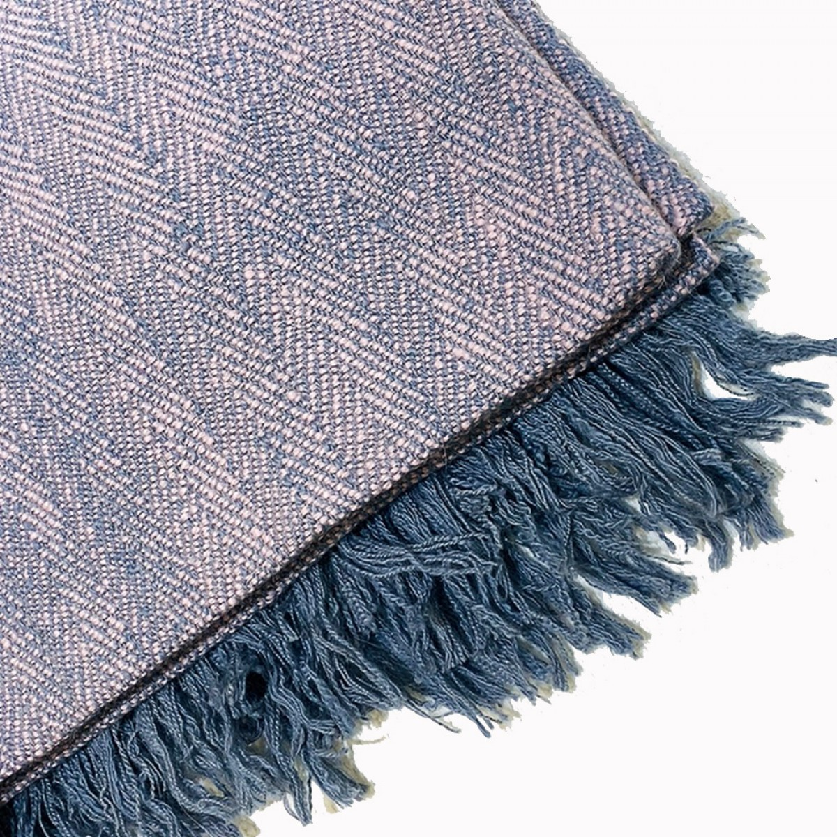 Light Grey & Pink Herringbone Weave Cashmere Blanket