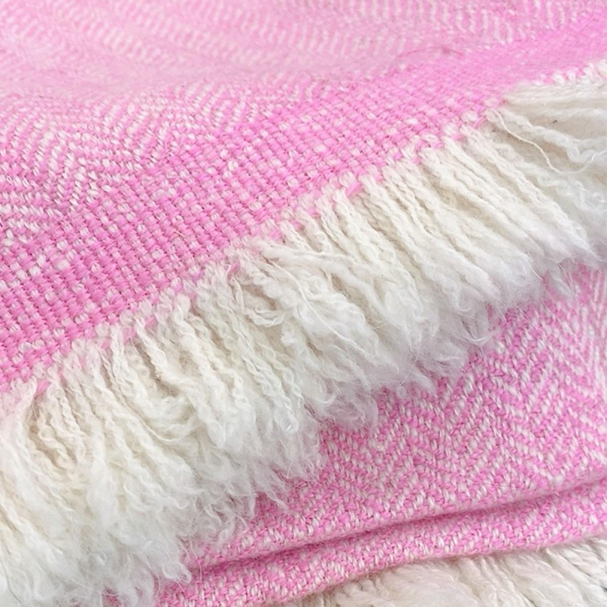 Pink Herringbone Weave Baby Cashmere Blanket