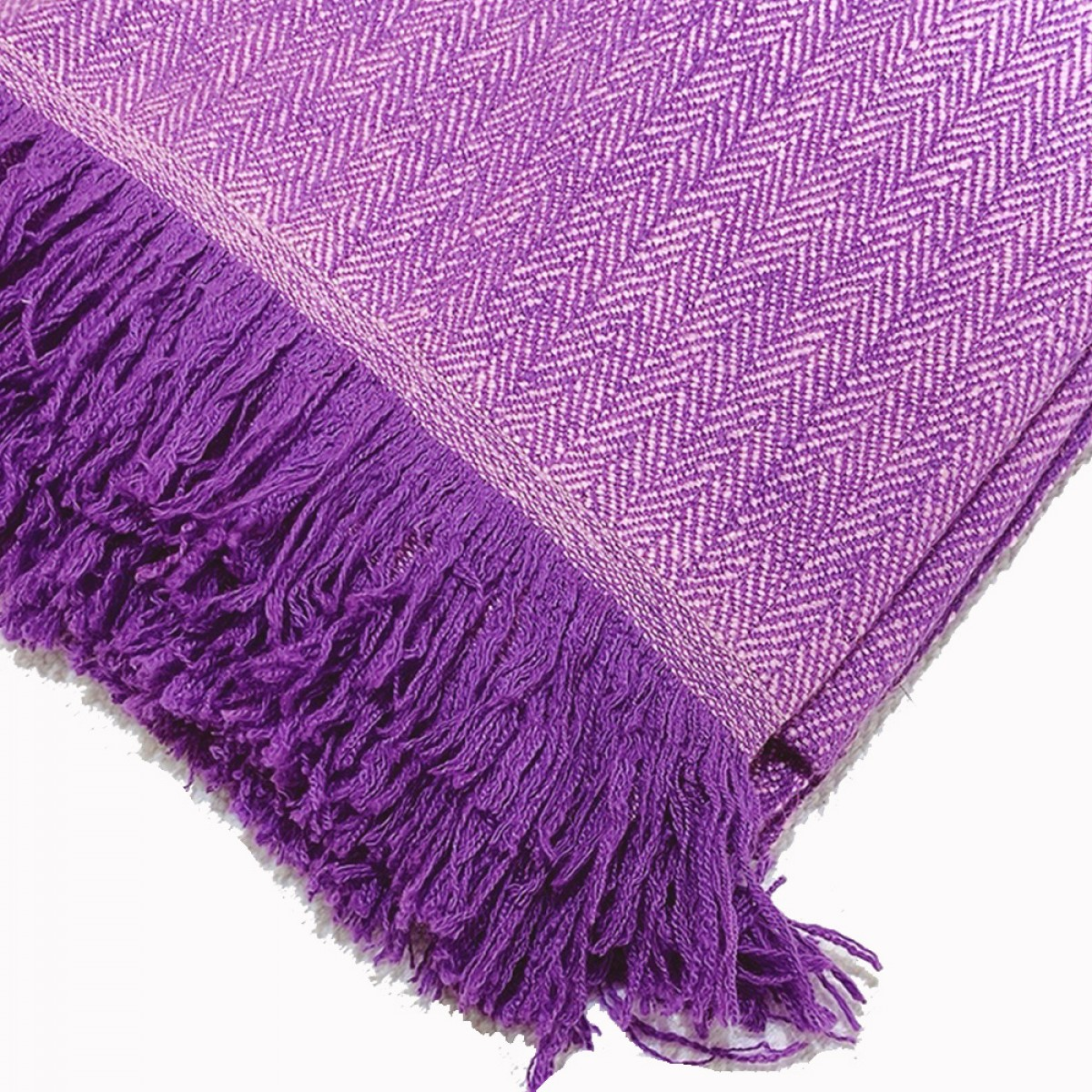 Purple Herringbone Weave Cashmere Blanket