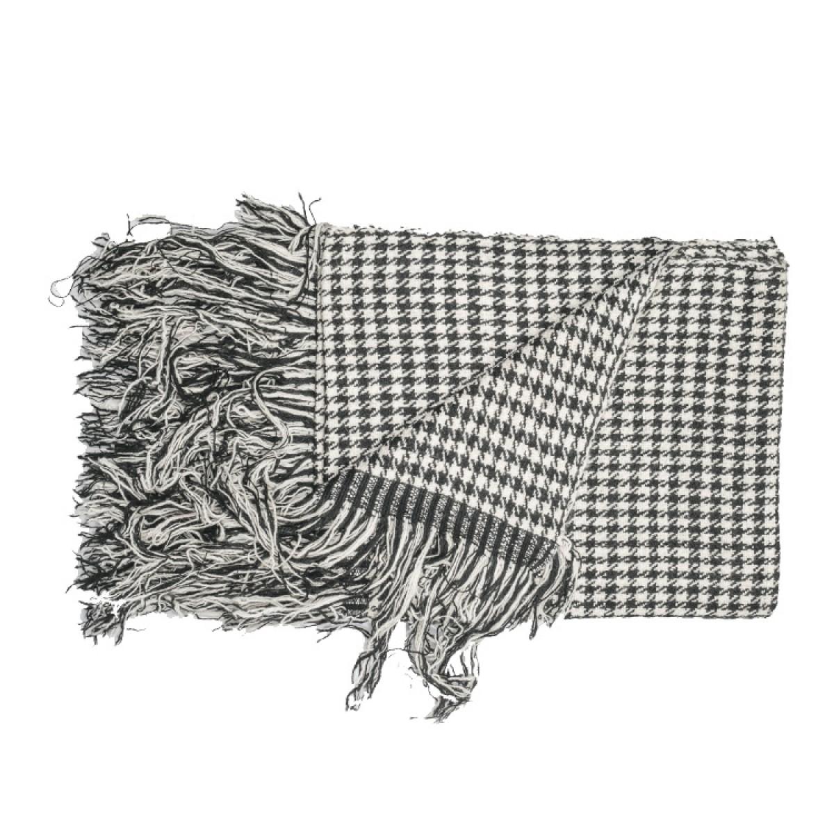 Black & White Herringbone Weave Cashmere Blanket