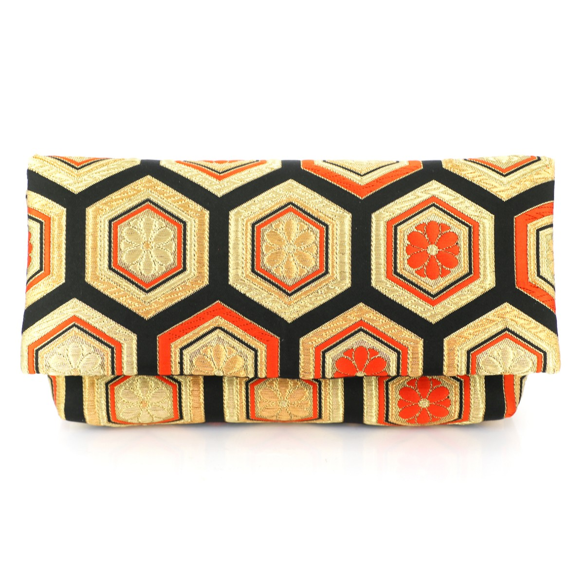 Kimono Envelope Clutch in Black and Gold Hexagon Patterns