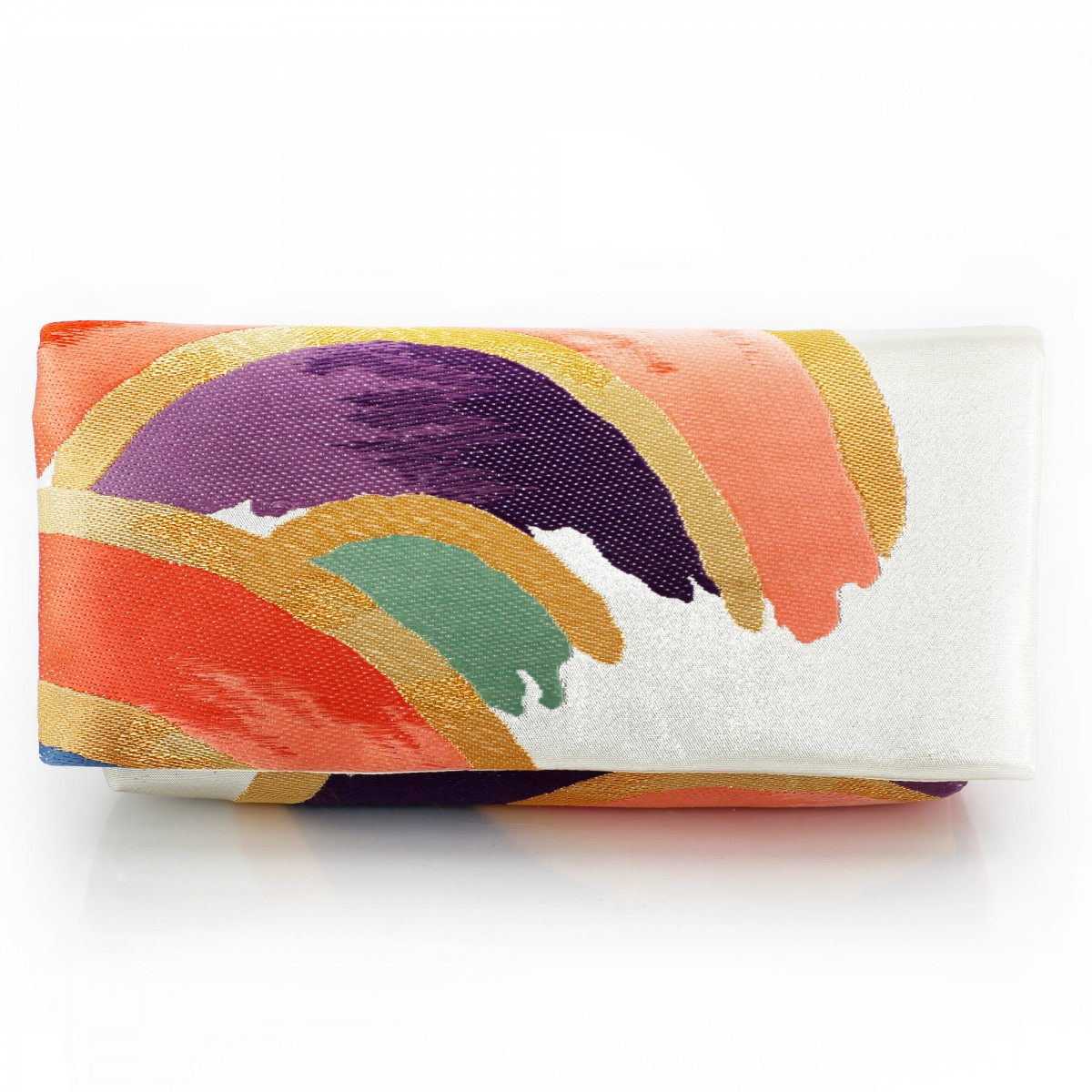 Kimono Envelope Clutch with Seigaiha in Rainbow Colors