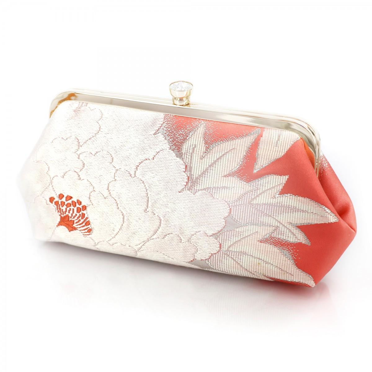 Swaroski Crystal Kimono Clutch with Peony Flower