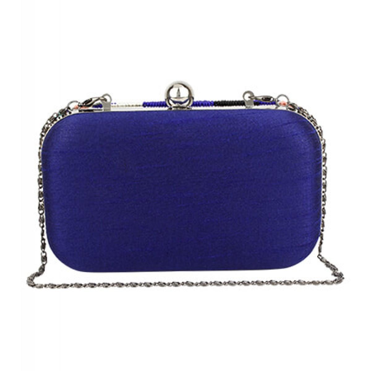 Beaded Flower Evening Clutch Bag - Blue