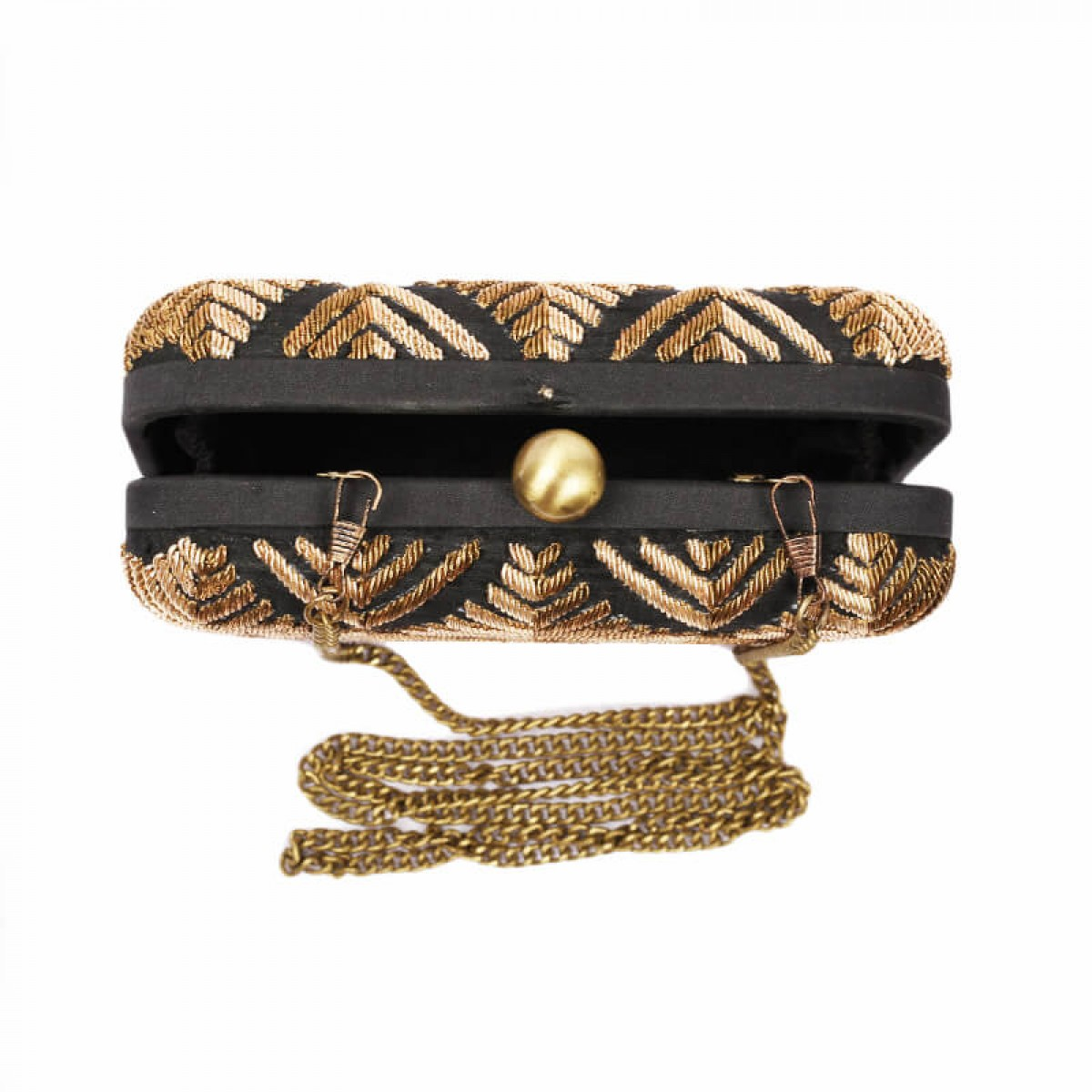 Evening Zardozi Embroidery Clutch Bag - Black