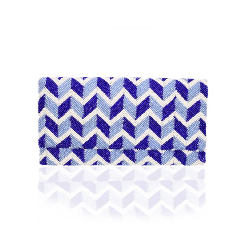 Beaded Wave Evening Clutch Bag - Blue