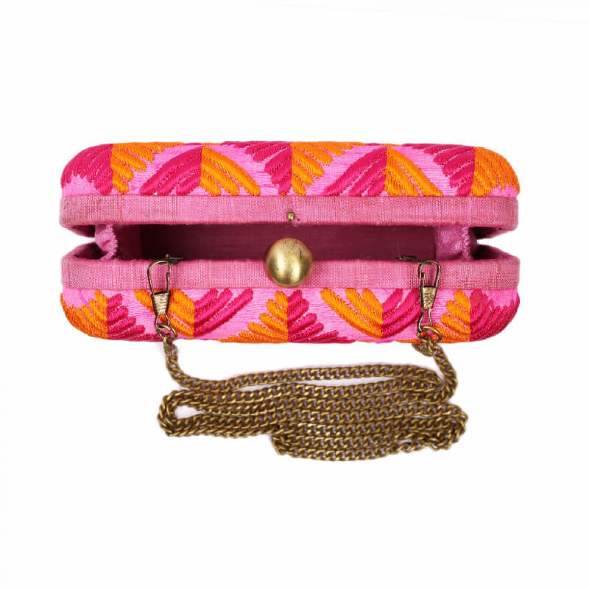 Evening Embroidery Clutch Bag - Pink Fuchsia