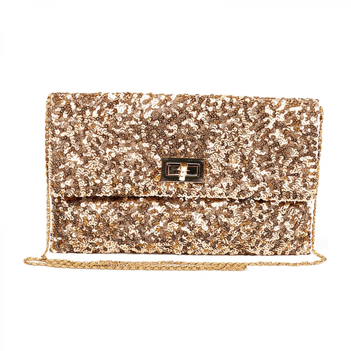 Gold sequin cross body evening clutch bag