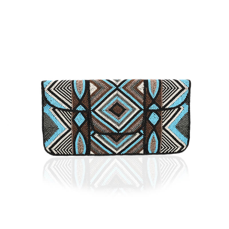 Beaded Envelop Evening Clutch Bag - Turquoise