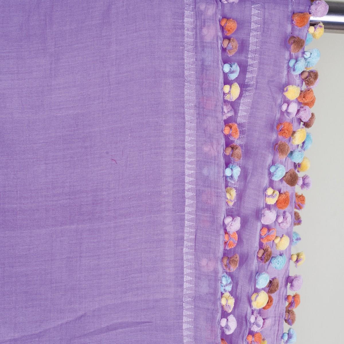 Cotton Pom Pom Scarf -  Purple