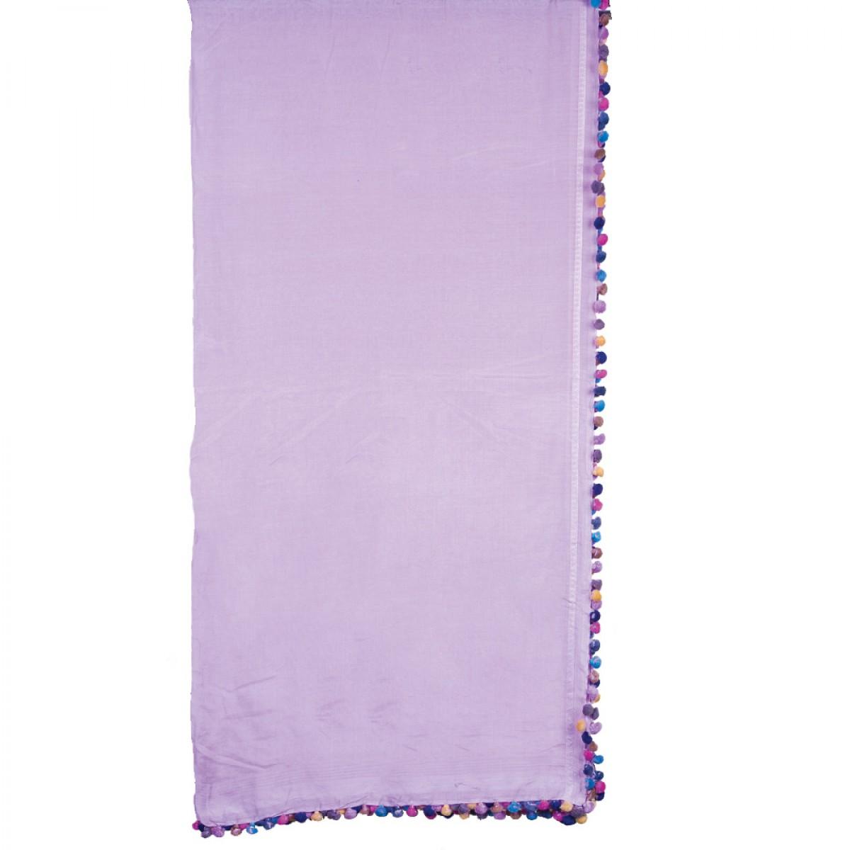 Cotton Pom Pom Scarf - Lilac