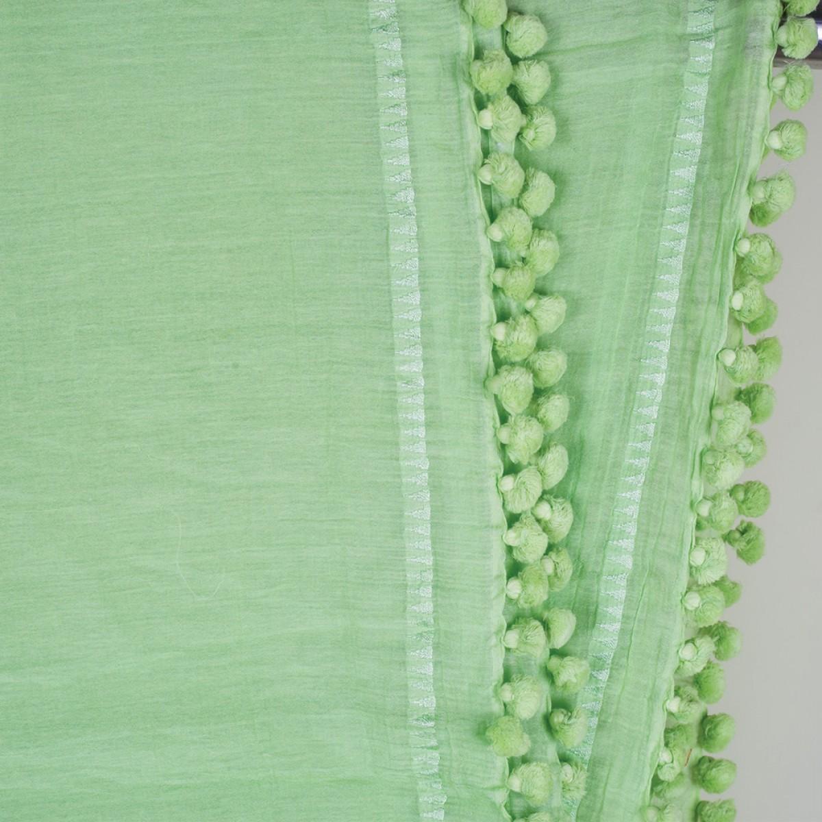 Cotton Pom Pom Scarf - Mint