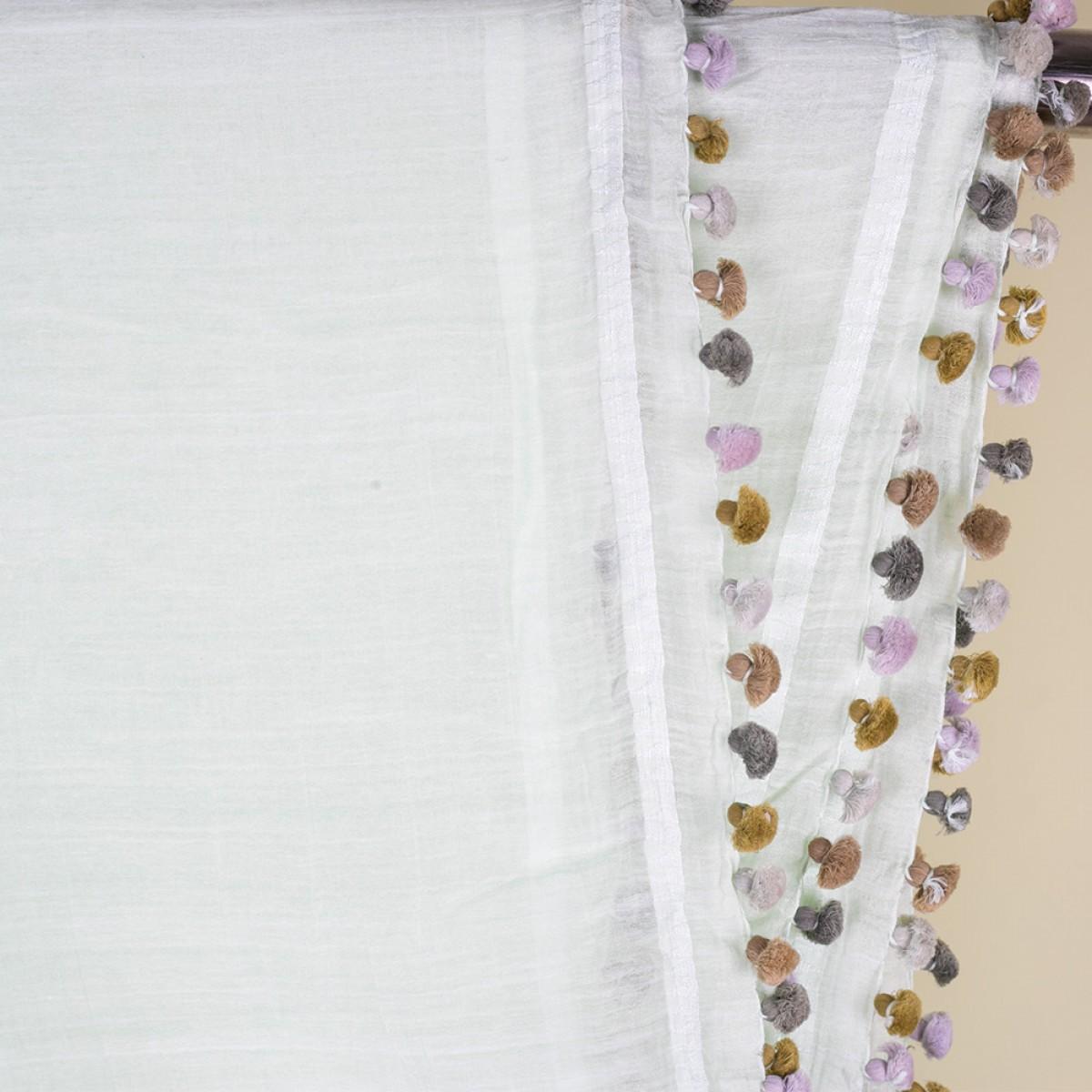 Cotton Pom Pom Scarf - White