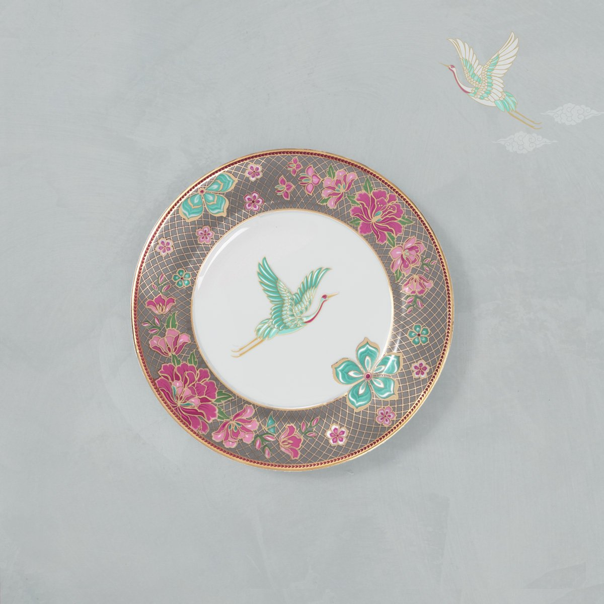 Tea Plate Fine Porcelain - Flamingo (set of 4 )