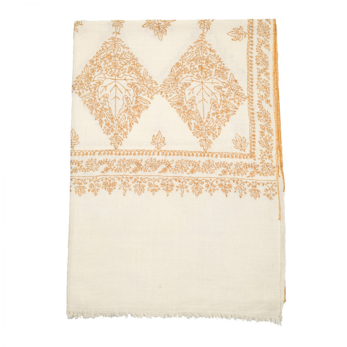 Embroidered Pashmina Stole - Chinar Leaf Natural
