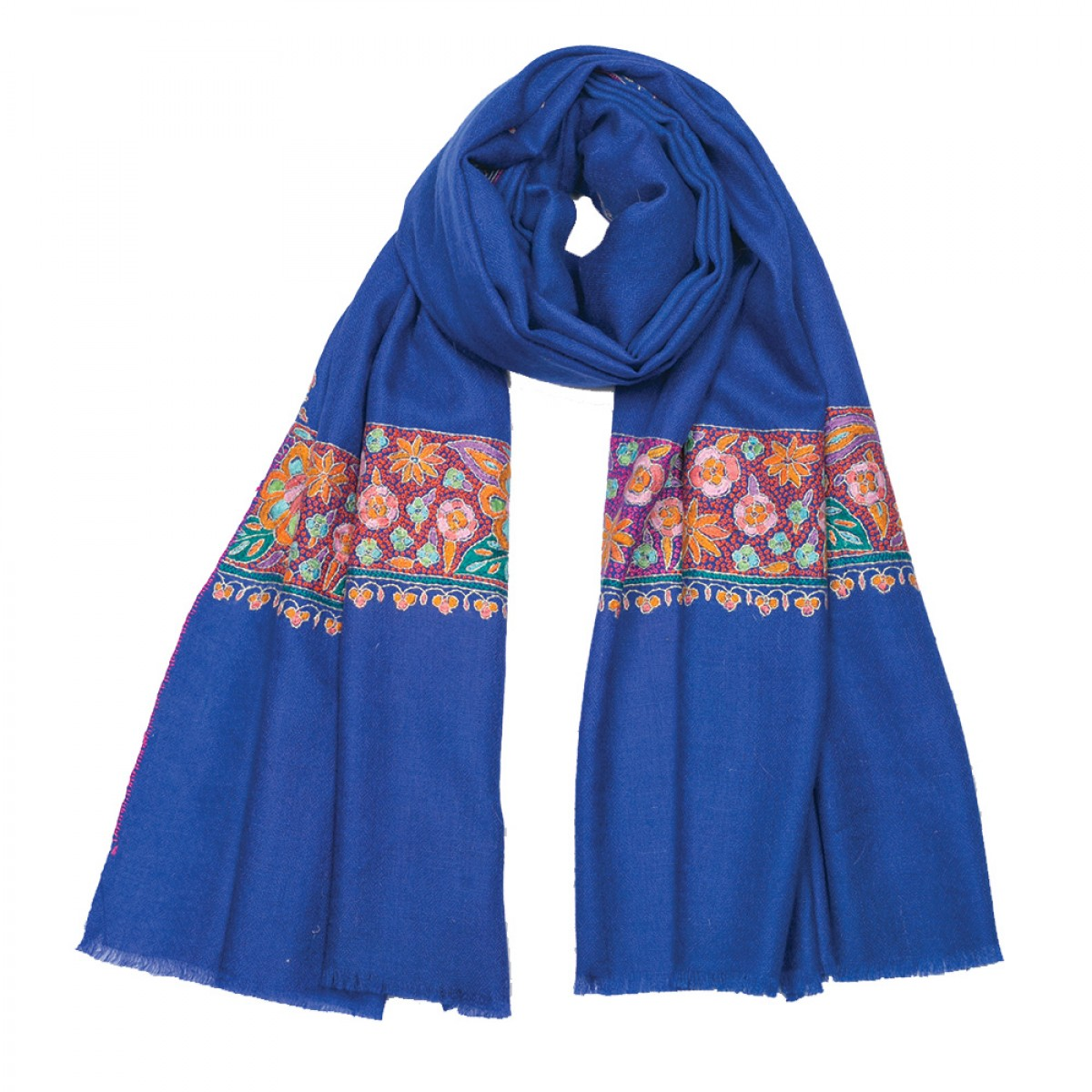 Embroidered Pashmina Stole - Admiral Blue