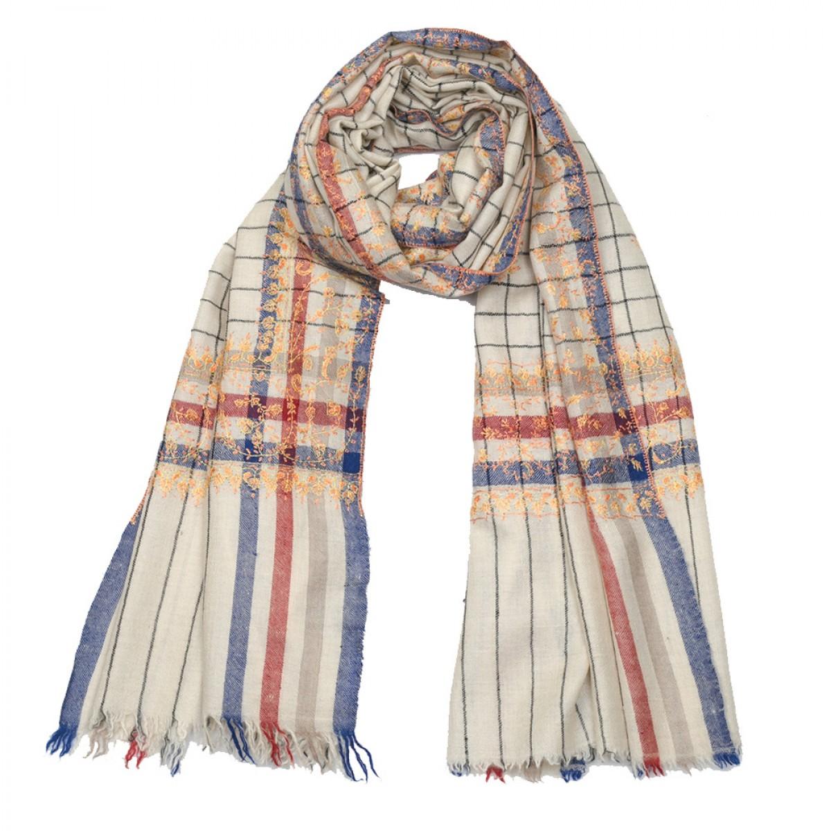 Embroidered Pashmina stole - Stripes