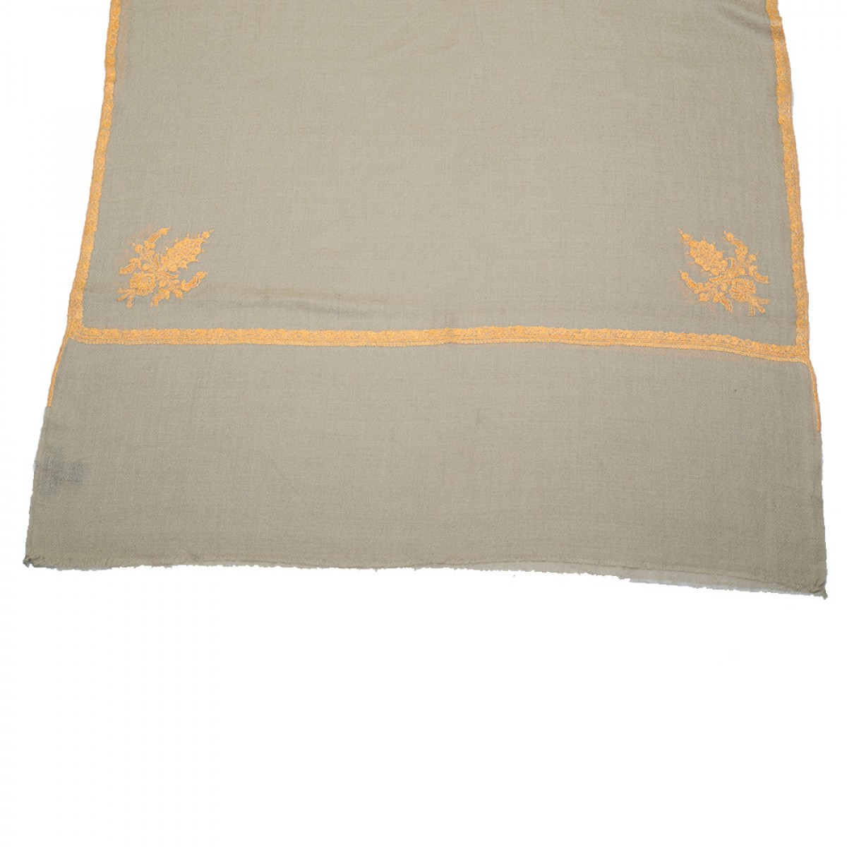 Embroidered Pashmina stole - Natural & Yellow