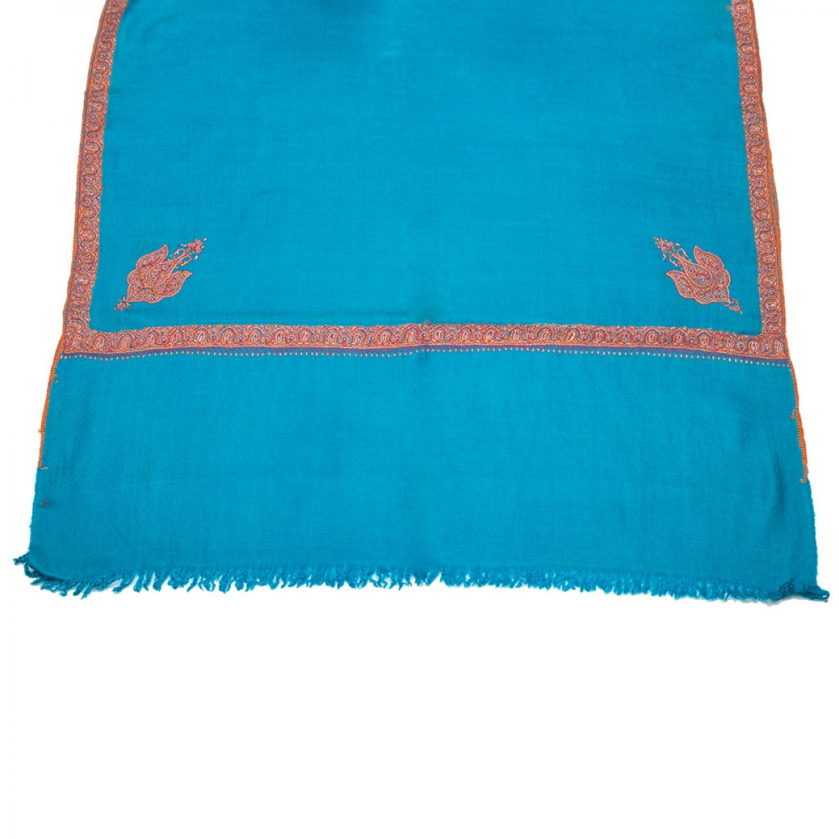 Embroidered Pashmina stole - Blue & Red