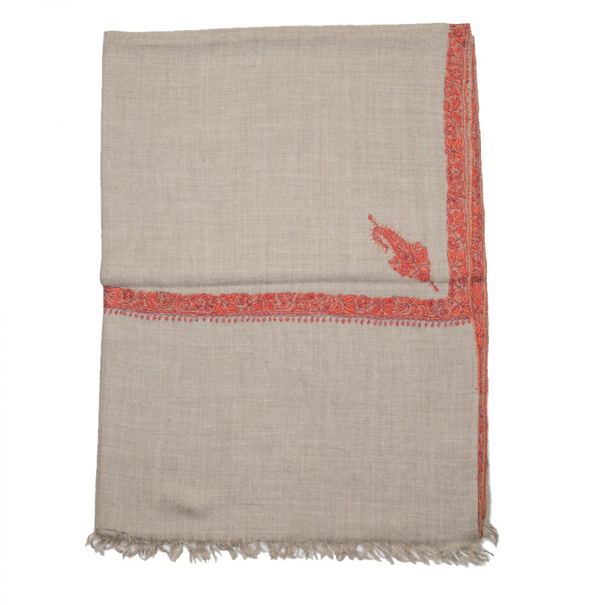 Embroidered Pashmina stole - Natural & Red