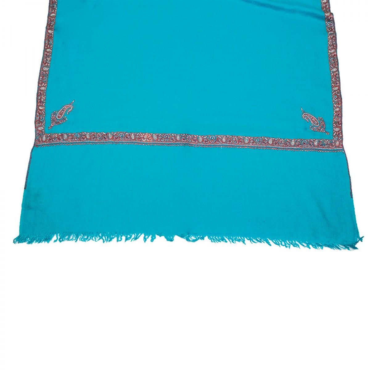 Embroidered Pashmina Stole - Blue & White