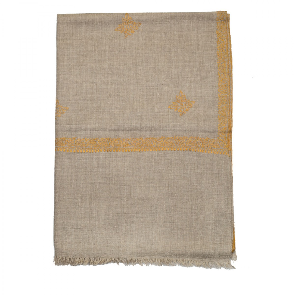 Embroidered Pashmina stole - Natural & Mustard