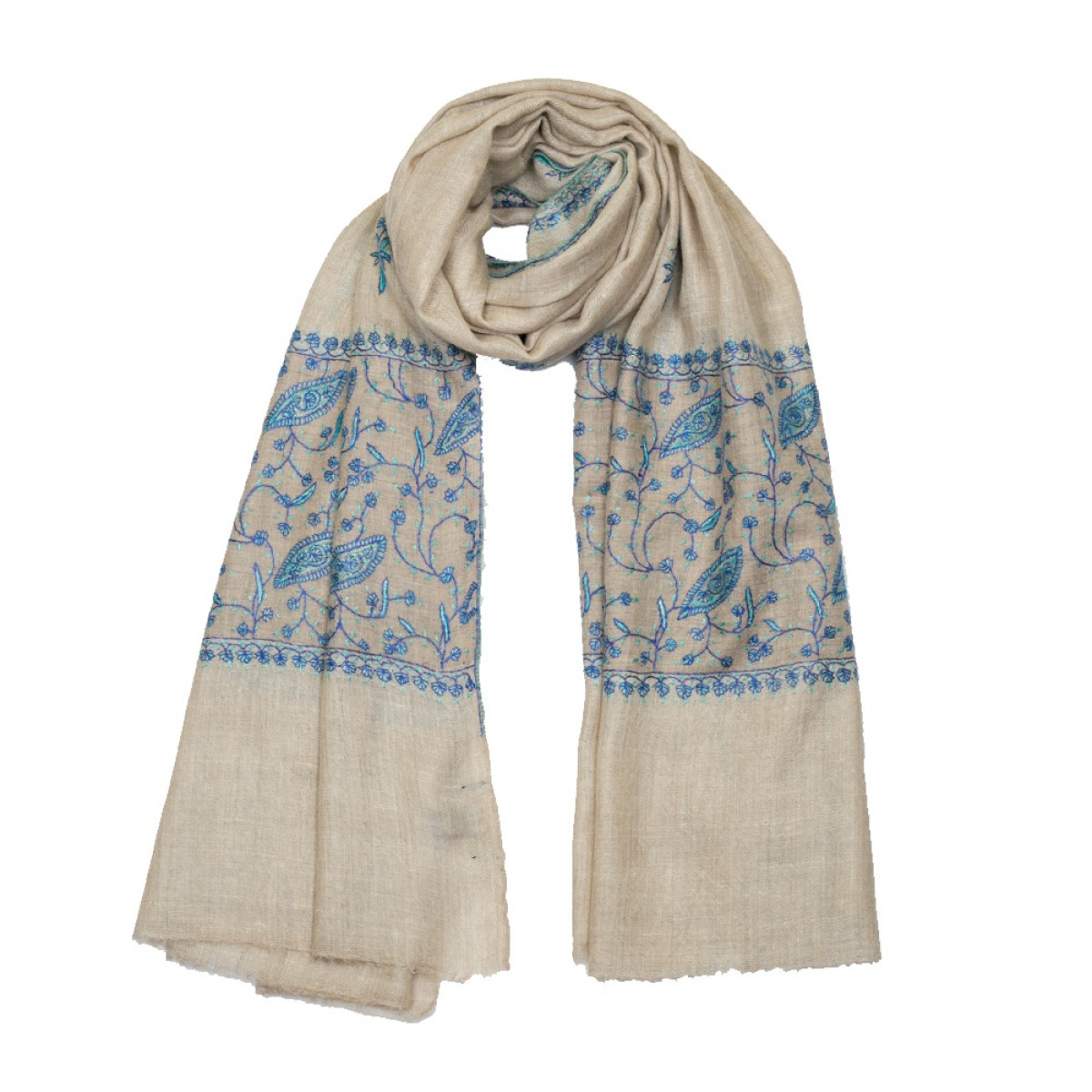 Embroidered Pashmina Stole - Natural & Blue