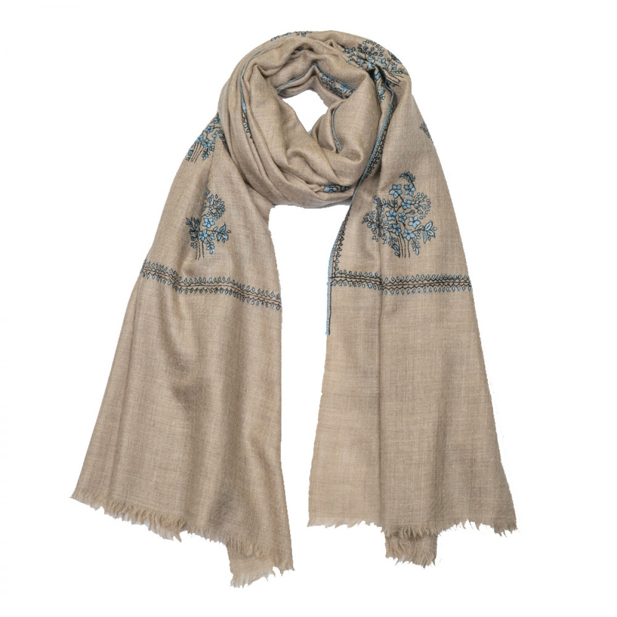 Embroidered Pashmina stole - Natural & Sky Blue