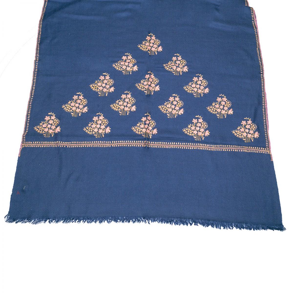 Embroidered Pashmina stole - Midnight Blue