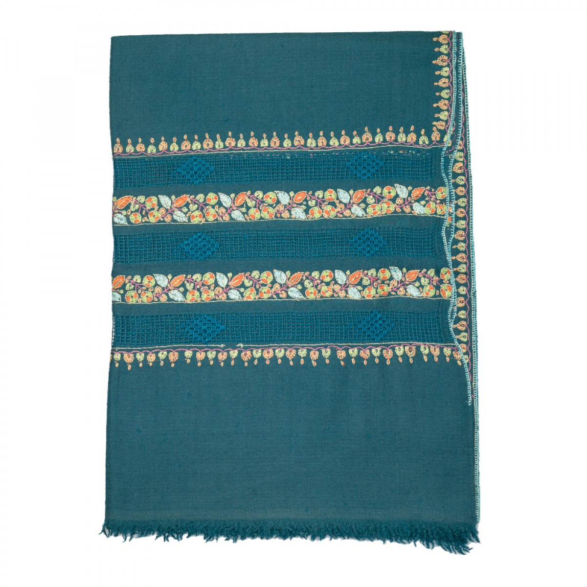 Embroidered Pashmina stole - Blue