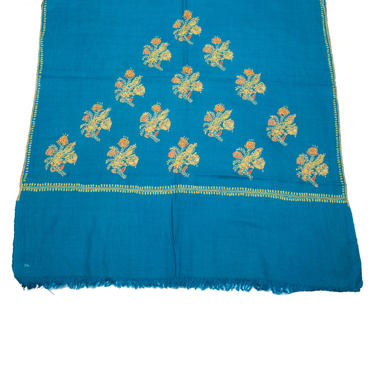 Embroidered Pashmina stole - Turquoise