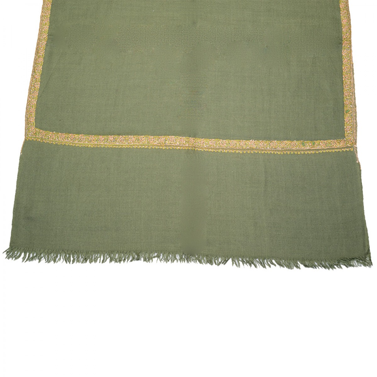 Embroidered Pashmina stole - Moss Green