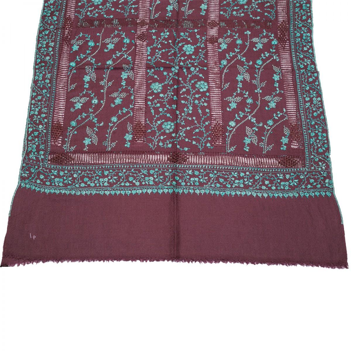 Embroidered Pashmina Stole - Wine & Turquoise