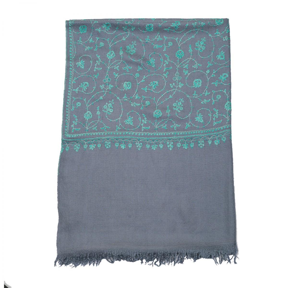 Embroidered Pashmina Stole - Slate Grey