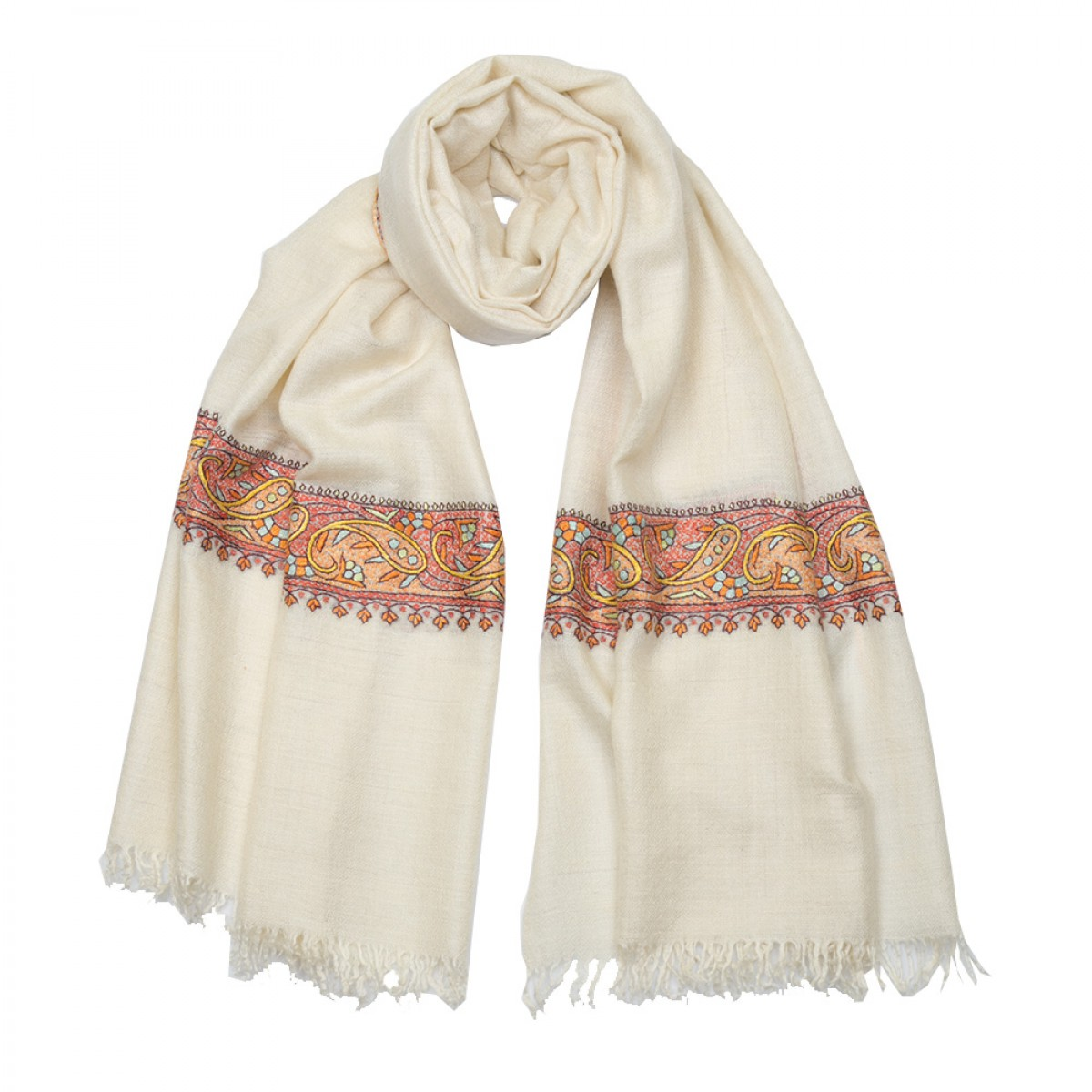 Embroidered Pashmina Stole - Natural & Pink