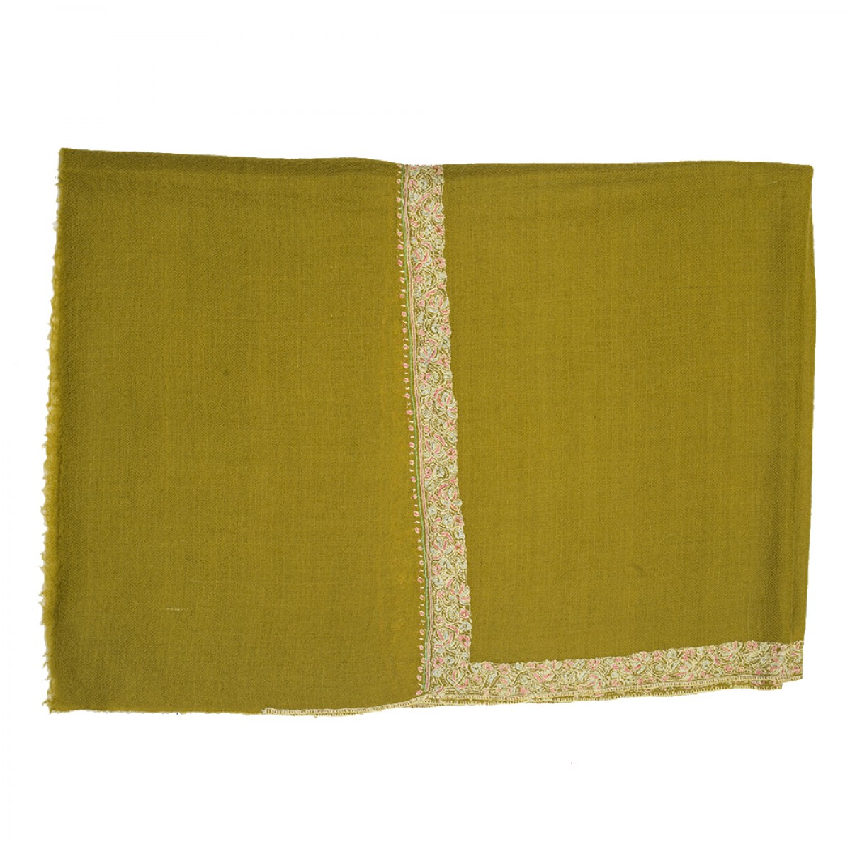Hand Embroidered Cashmere Pashmina Stole - Olive Green