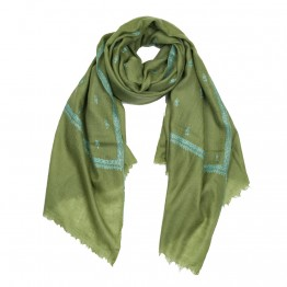 Hand Embroidered Cashmere Pashmina Stole - Henna Green