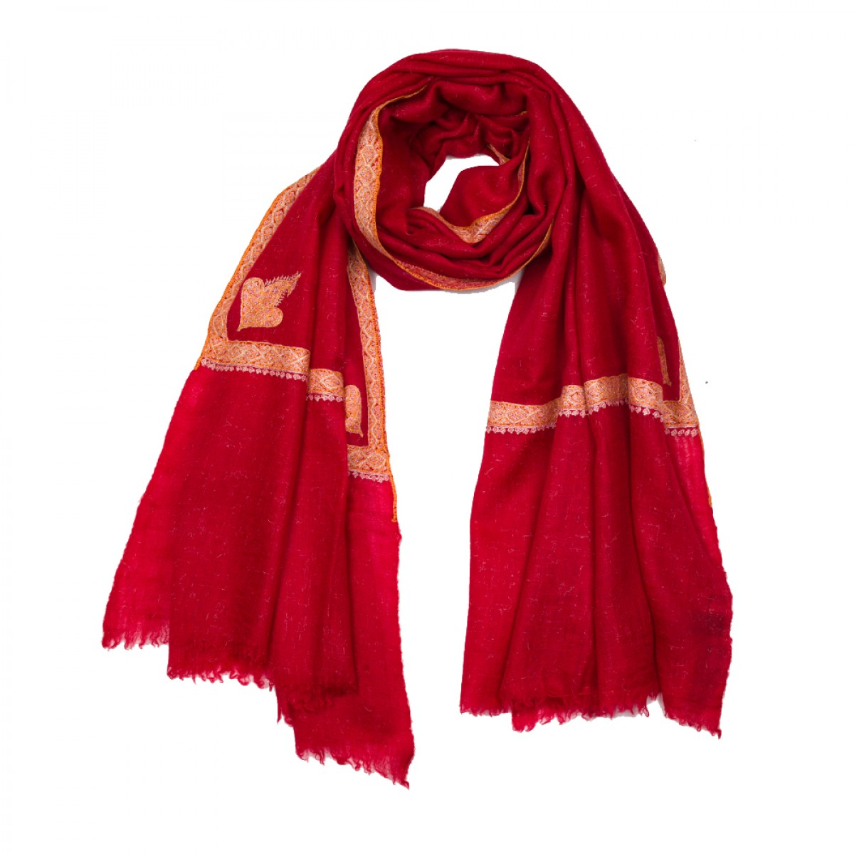 Hand Embroidered Cashmere Pashmina Stole - Torri Red