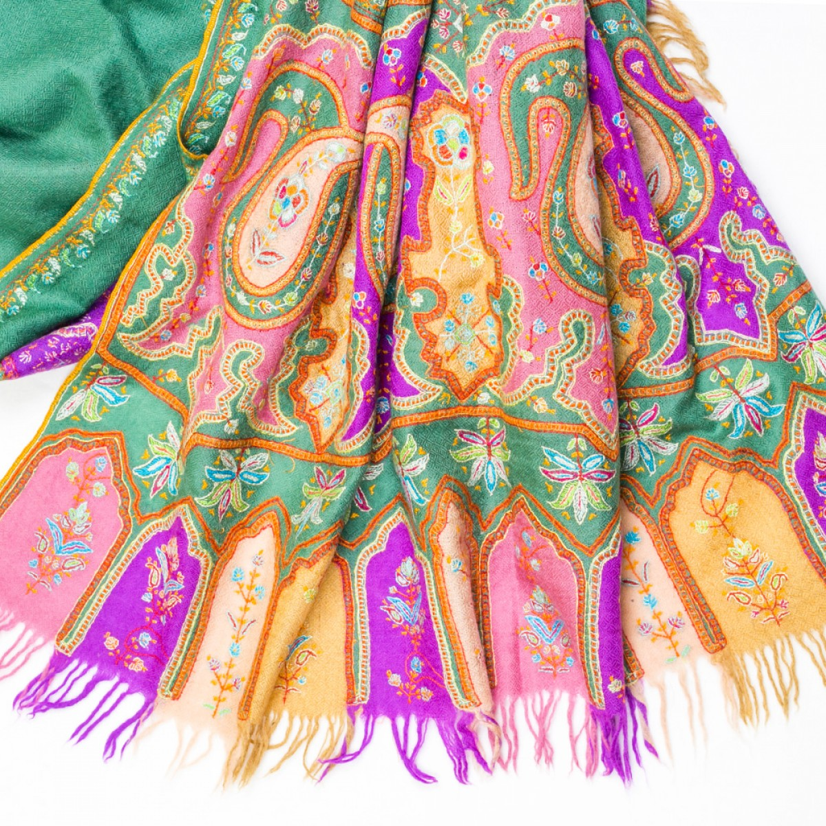 Hand Embroidered Cashmere Pashmina Stole - Emerald Green