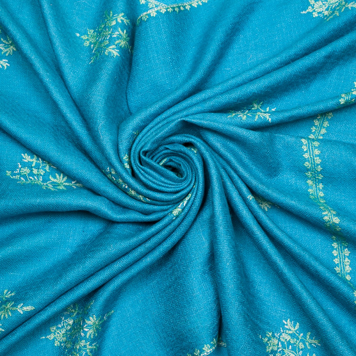 Hand Embroidered Cashmere Pashmina Stole - Cerulean