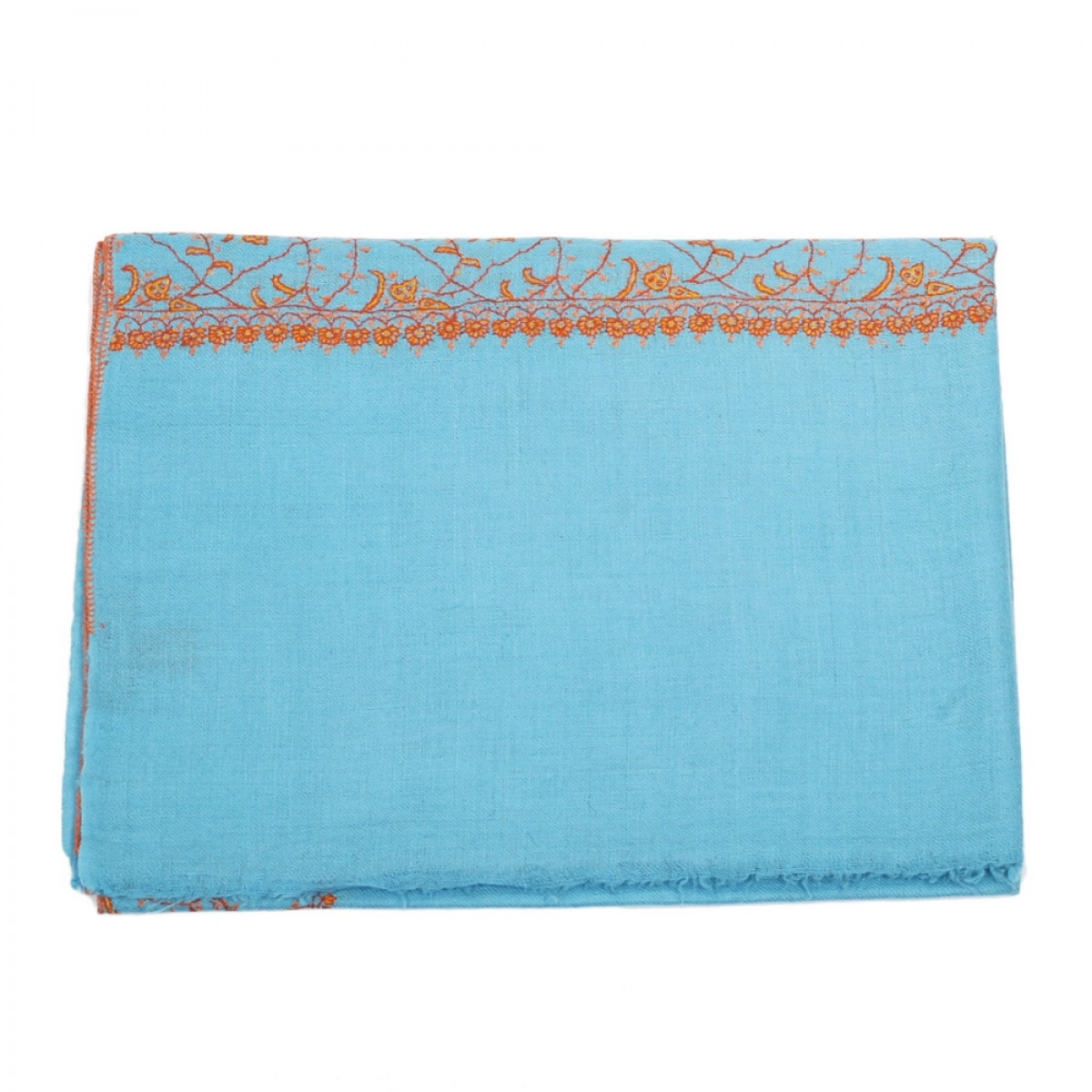 Embroidered Pashmina Stole - Olympia Blue
