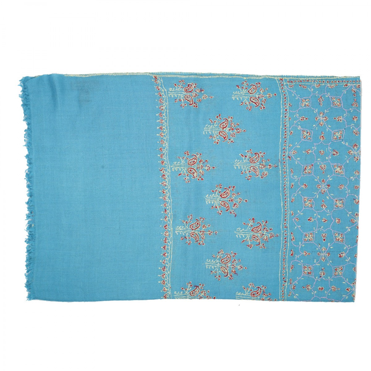 Embroidered Pashmina Stole - Sky Blue