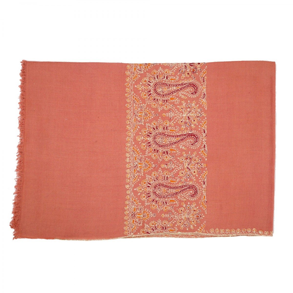 Embroidered Pashmina Stole - Rose Cerise