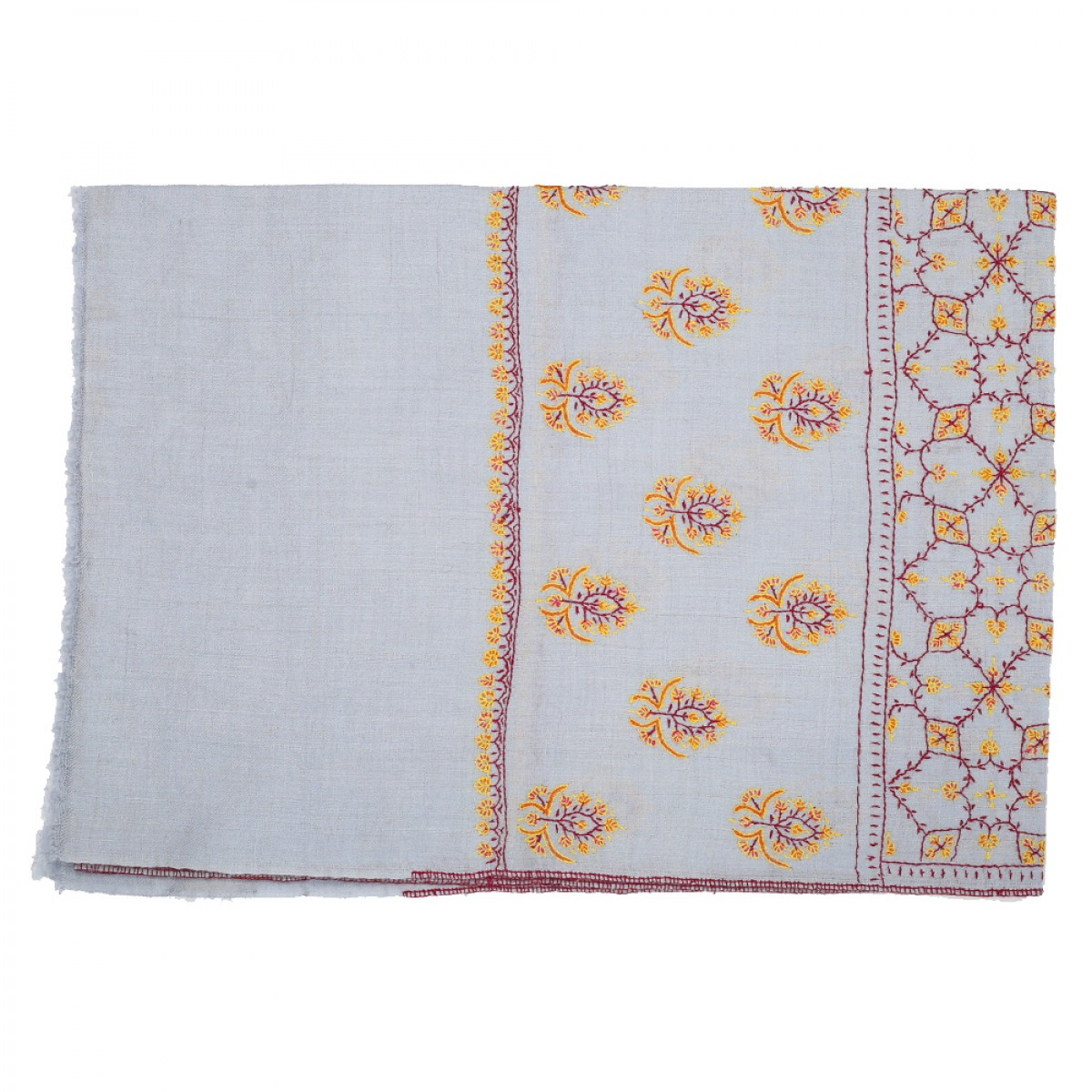 Embroidered Pashmina Stole - Pale Grey