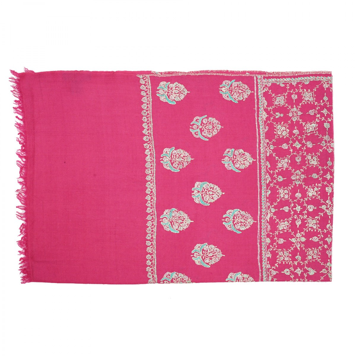 Embroidered Pashmina Stole - Taffy Pink