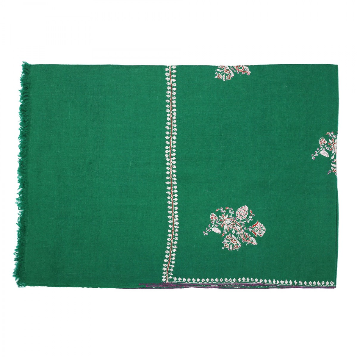 Embroidered Pashmina Stole - Emerald Green