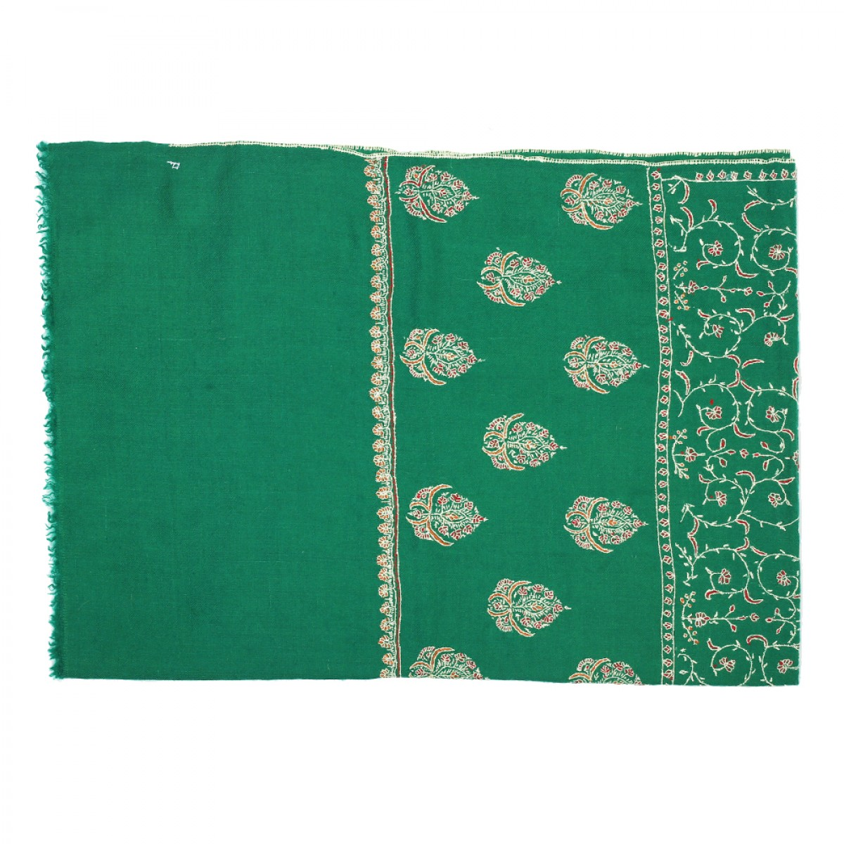 Embroidered Pashmina Stole - Dark Green