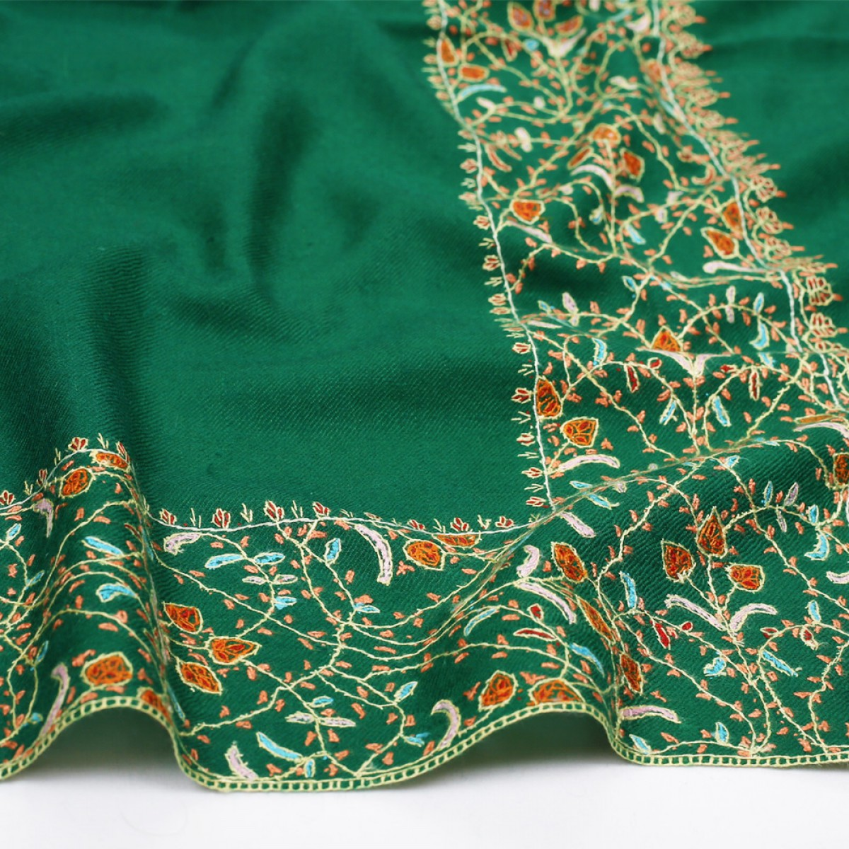 Embroidered Pashmina Stole - Forest Green